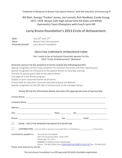2013 Corporate Sponsorship form