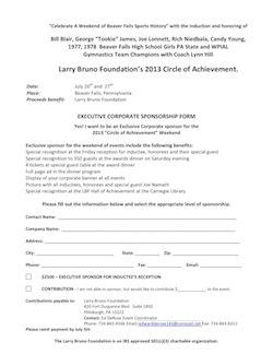 2013 Corporate Sponsorship form